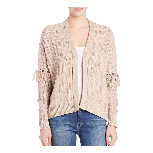 360CASHMERE fringe sleeve cardigan - Luxe knit cotton cardigan detailed with fringes. Open...