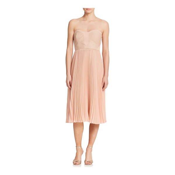 4.COLLECTIVE Strapless pleated chiffon dress - A sweetheart jacquard bodice and sharply pleated chiffon...