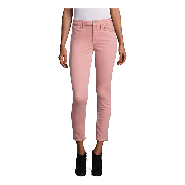 7 FOR ALL MANKIND ankle skinny sateen jeans - Satiny ankle-length jeans in a skinny silhouette. Belt...