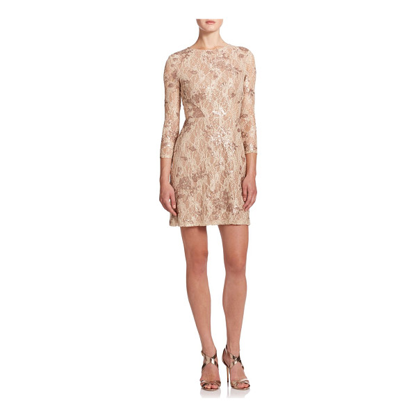 ABS BY ALLEN SCHWARTZ Embellished lace cocktail dress - Shimmer and shine in this lace-decked bodycon dress,...
