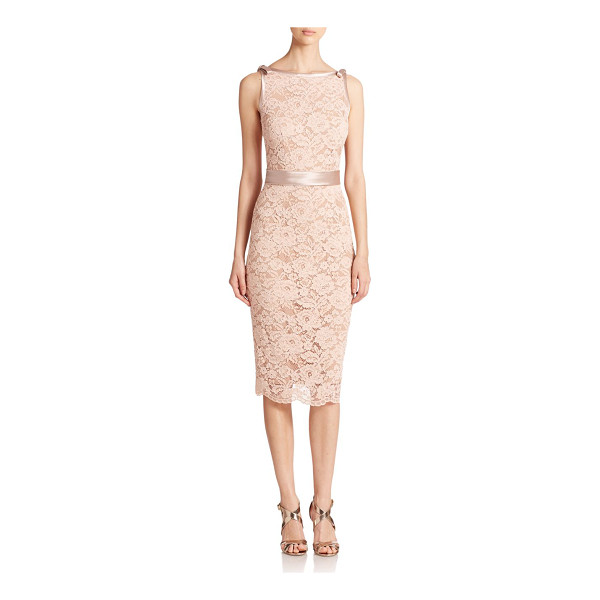 ABS BY ALLEN SCHWARTZ Lace satin-contrast sheath - Sleek satin trim at the arm openings and waist add dainty...