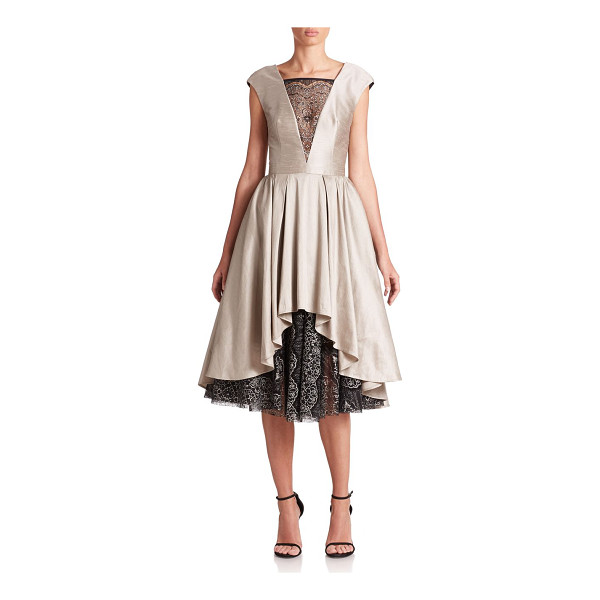 ABS BY ALLEN SCHWARTZ Satin & lace cocktail dress - Lace inserts complement the romantic look of this lustrous...