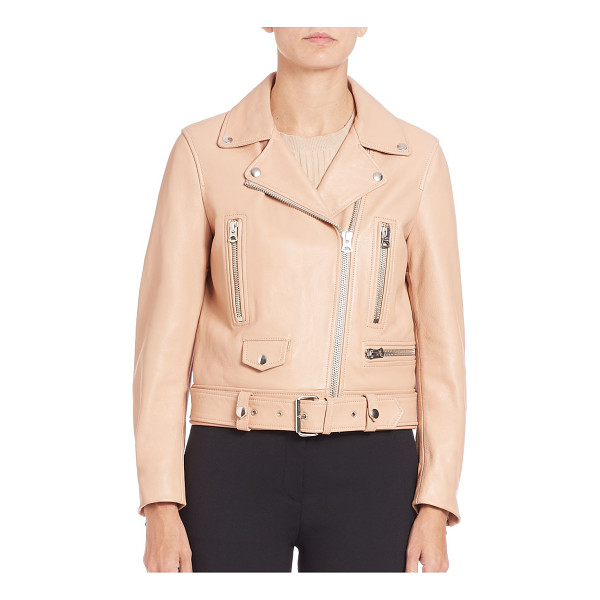 ACNE STUDIOS Leather moto jacket - Signature design in supple leatherNotched collar with snap...