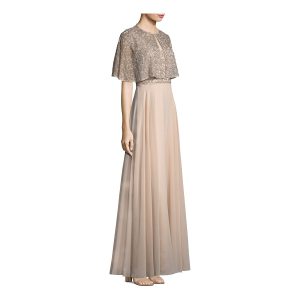 AIDAN MATTOX beaded a-line gown and cape set - Glimmering beads details a sweeping A-line dress finished...
