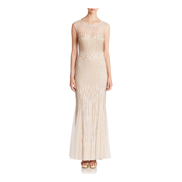 AIDAN MATTOX Beaded cap-sleeve illusion gown - This ethereal evening dress will shimmer with your every...