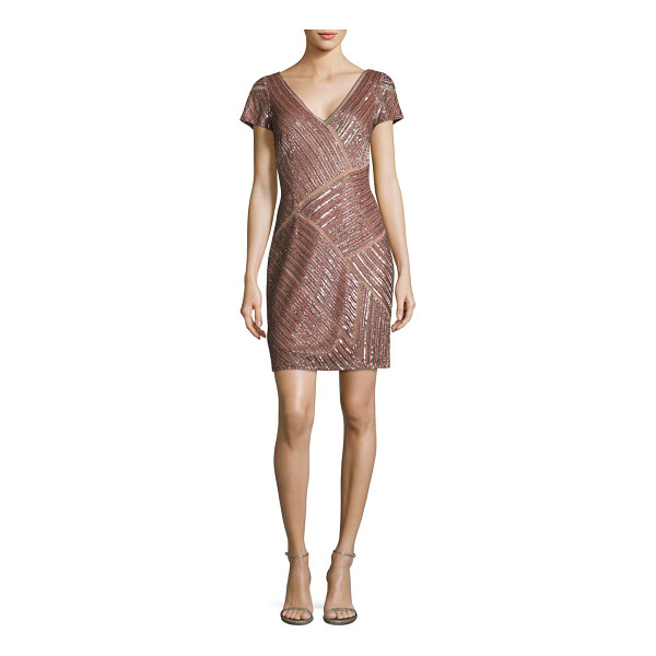 AIDAN MATTOX beaded cocktail dress - Glittering sequined panels elevate this shift dress.V-neck....