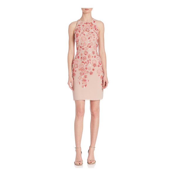 AIDAN MATTOX Beaded floral cocktail dress - Elegant dress with beaded floral detailing. Jewel neck....