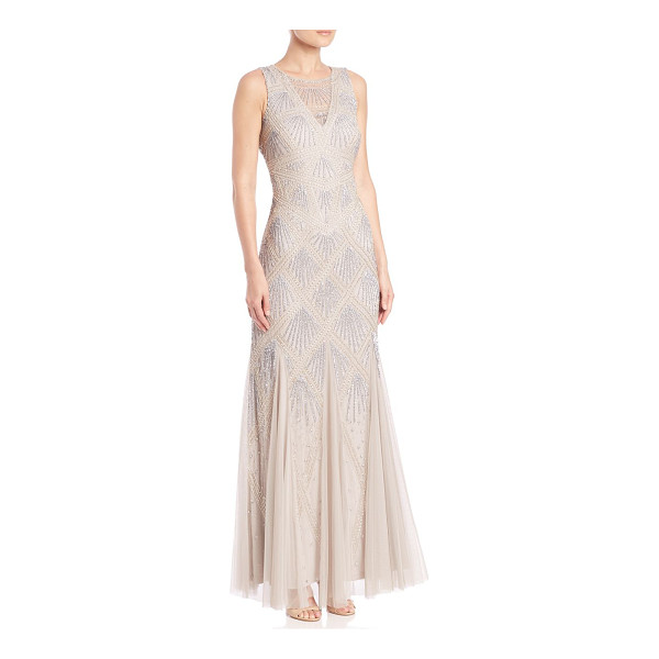 AIDAN MATTOX Beaded godet gown - Intricately beaded gown with tulle godet panelsSheer...