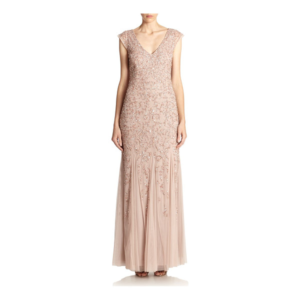 AIDAN MATTOX Beaded godet gown - Godet inserts shape the fluid silhouette of this stunning...