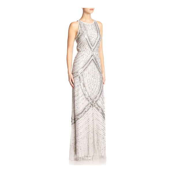 AIDAN MATTOX Beaded halter gown - This fluid halter gown is enhanced by intricate beaded...