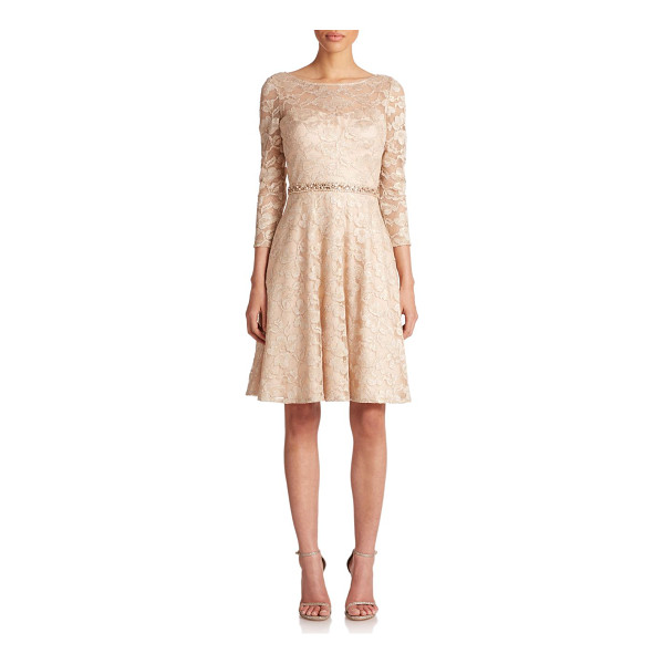 AIDAN MATTOX Beaded metallic lace dress - Subtly shimmering metallic floral lace, cut in an A-line...