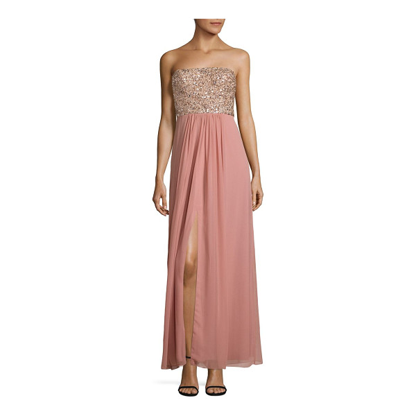 AIDAN MATTOX beaded strapless gown - Flowing strapless gown with sparkling embellished bodice....