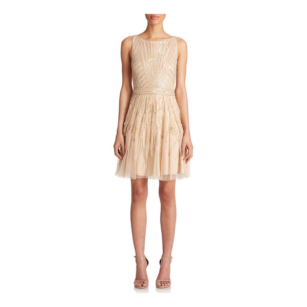 AIDAN MATTOX Beaded tulle dress - Intricate beading lends delicate shimmer to this soft,...