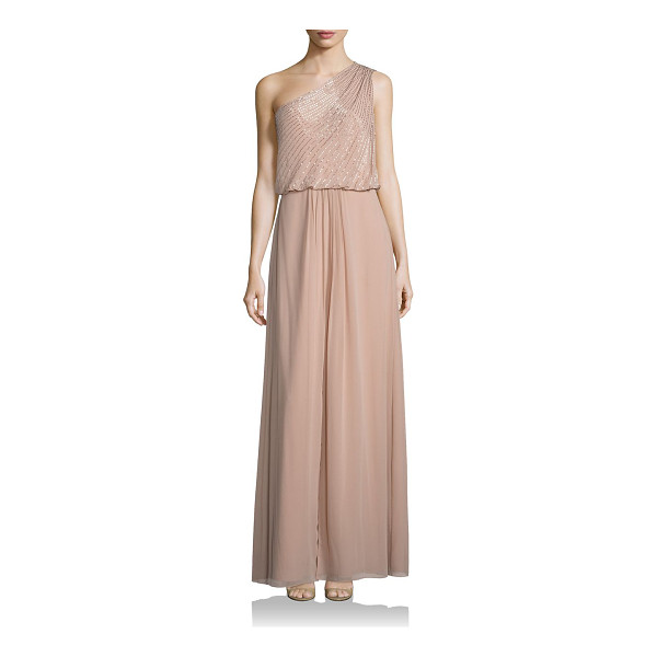 AIDAN MATTOX embellished one-shoulder bridesmaid gown - Delicately designed gown with striking embellishments....
