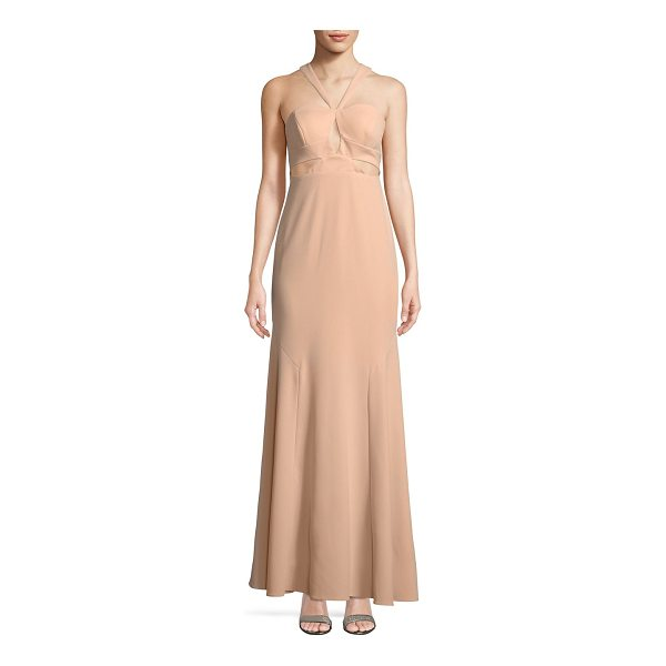 AIDAN MATTOX crepe halter gown - Crepe halter gown detailed with cutouts. Halter neck....