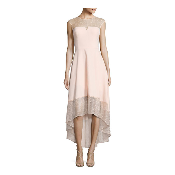 AIDAN MATTOX crepe & lace cocktail dress - Blush lace gown for a charismatic appeal. Illusion...