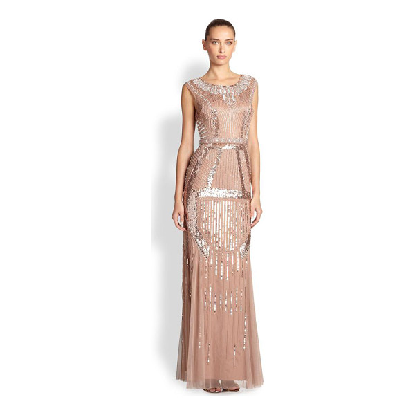 AIDAN MATTOX Deco-print beaded gown - Art nouveau inspired the abstract beading of this...