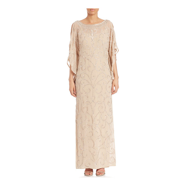 AIDAN MATTOX embellished beaded kaftan - Dazzling sequin and beads embellished kaftan. Boat...