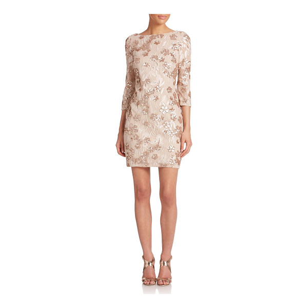 AIDAN MATTOX Embellished floral lace dress - Sequin-dusted floral lace with three-quarter sleeves and an...