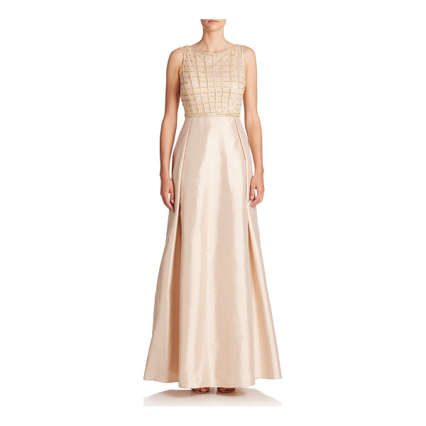 AIDAN MATTOX Embellished waffle-bodice gown - A radiant, embellished bodice with light-catching beads set...