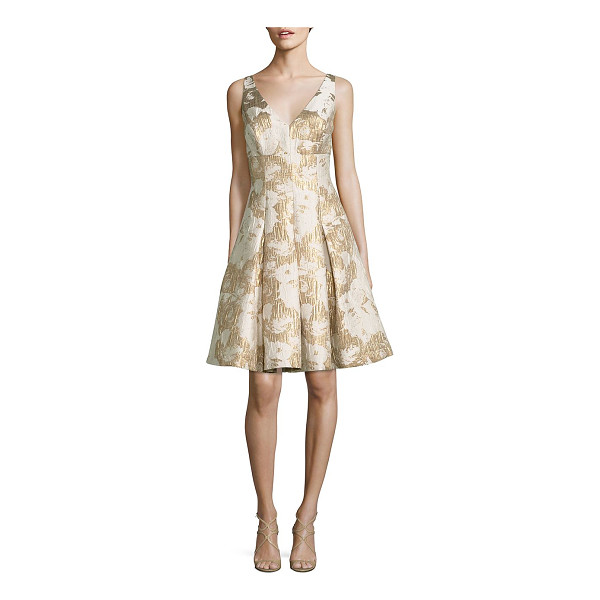 AIDAN MATTOX Floral Jacquard Cocktail Dress | Nudevotion.com