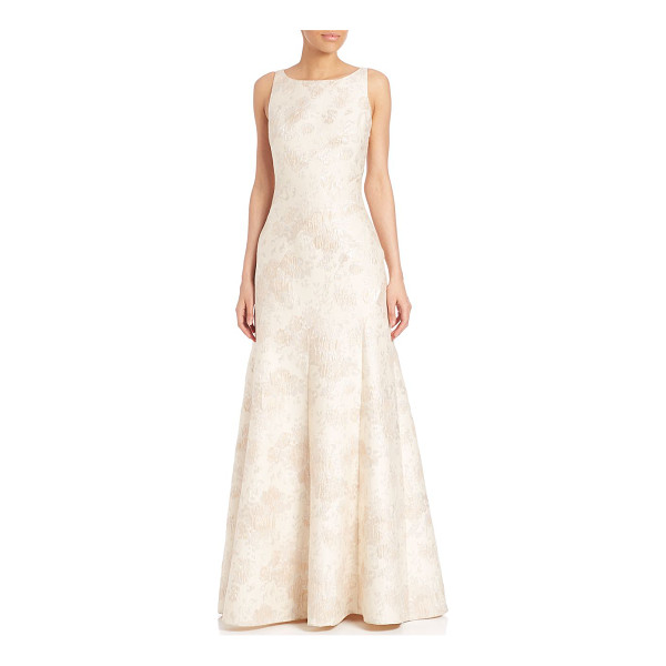 AIDAN MATTOX floral jacquard gown - Sophisticated floral detailed gown with flared hem. Boat...