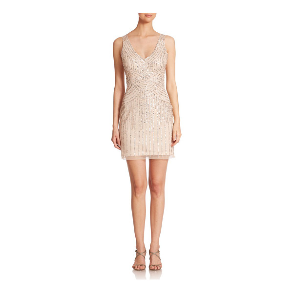 AIDAN MATTOX Illusion-back sequin bridesmaid dress - Adorned with shimmering sequins, a sheer back adds alluring...