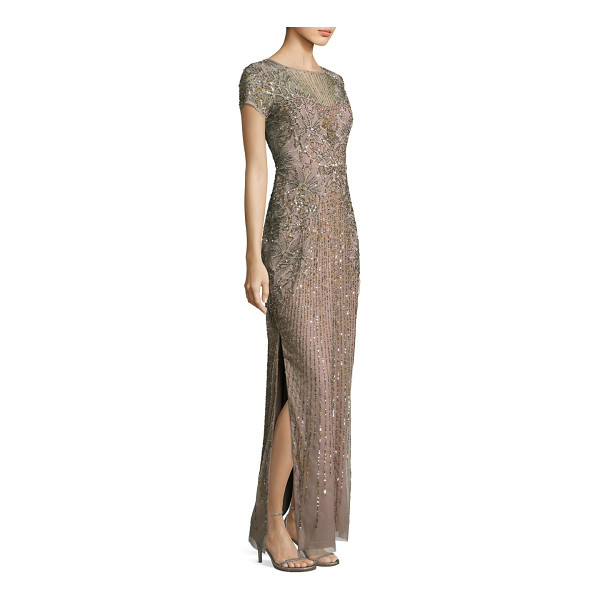 AIDAN MATTOX beaded sequin gown - Sparkling elegance in a floor-skimming silhouette finished...