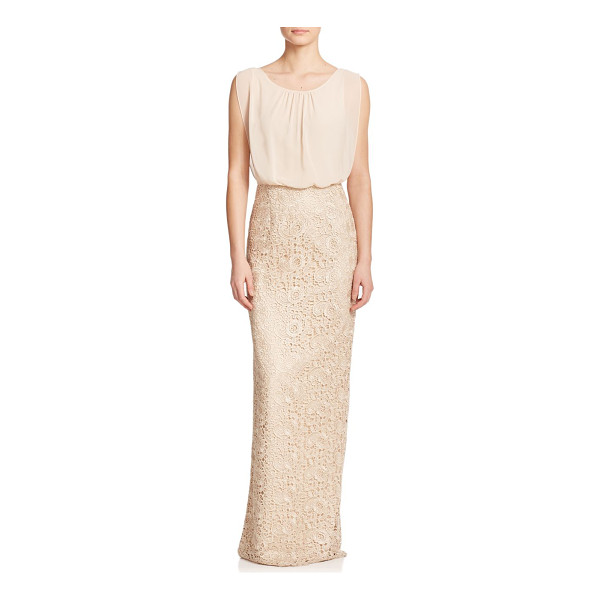 AIDAN MATTOX lace & chiffon bridesmaid gown - An airy blouson bodice adds volume to this streamlined...