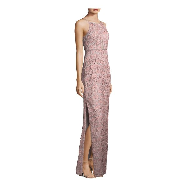 AIDAN MATTOX lace column dress - Floral lace column dress with illusion panel at front....