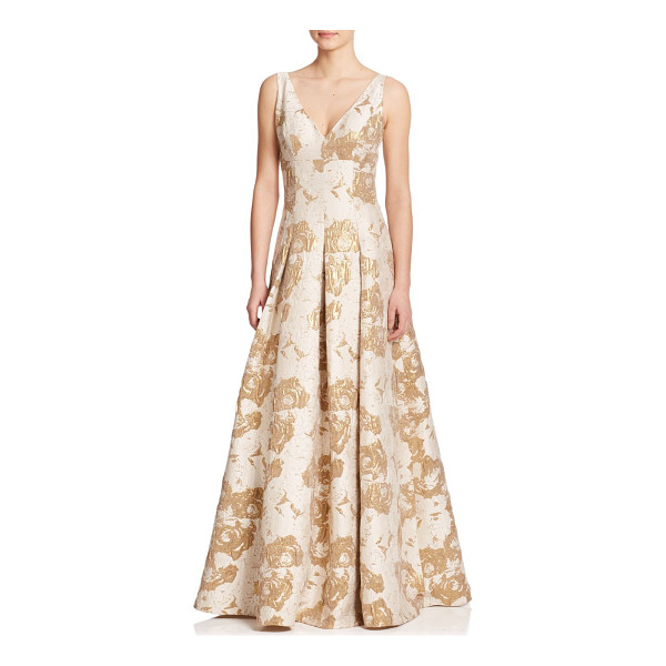 AIDAN MATTOX Metallic jacquard ball gown - A gilded jacquard finish lends a rich touch to this...