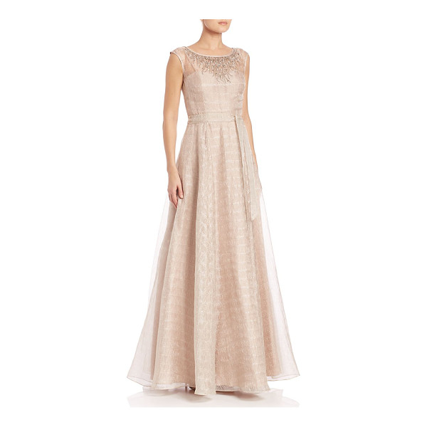 AIDAN MATTOX metallic organza a-line ballgown - Illusion yoke highlights this gorgeous ballgown. Boatneck....