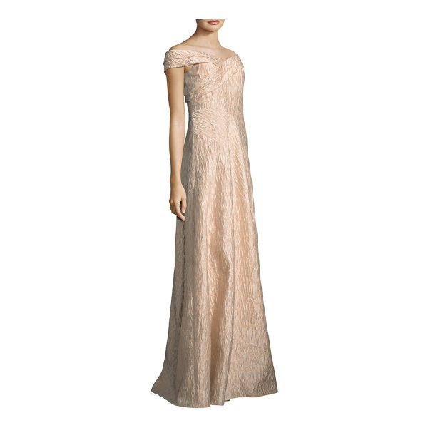 AIDAN MATTOX off-the-shoulder gown - Textured cotton-blend dress with wrap detailing at front...