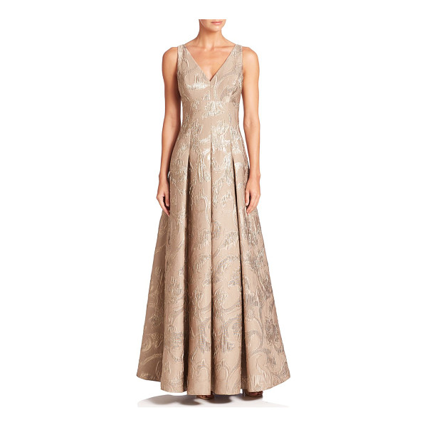 AIDAN MATTOX pleated floral gown - Sparkling floral details accentuate this pleated gown. Deep...