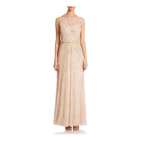 AIDAN MATTOX Sequin blouson bridesmaid gown - Crafted in airy mesh, an elegant blouson gown with...