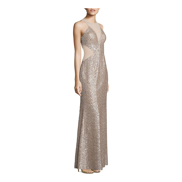 AIDAN MATTOX sequin illusion cutout gown - Shimmering sequin gown with illusion mesh panels. Illusion...