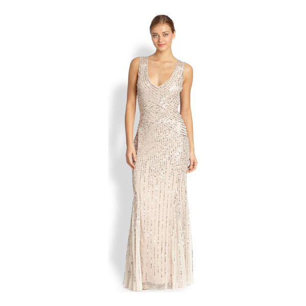 AIDAN MATTOX Sequin tulle sleeveless gown - A pale, airy tulle gown is traced with strands of delicate,...