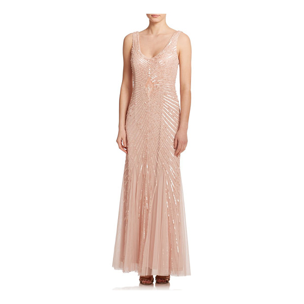 AIDAN MATTOX Sequined godet bridesmaid gown - An effortless, floor-sweeping gown accented with...