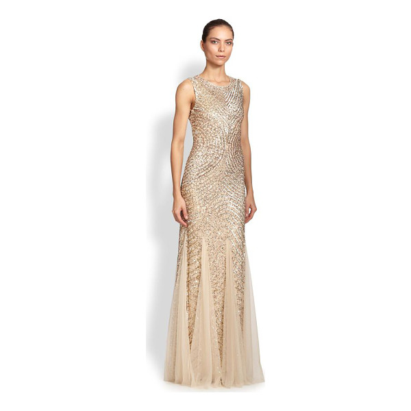 AIDAN MATTOX sequined godet gown - Enchanting sequined gown in a fitted silhouette accented...