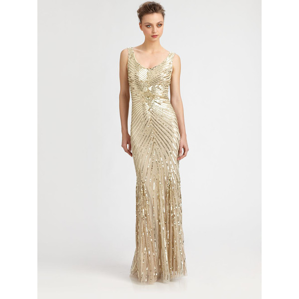 AIDAN MATTOX Sequined starburst gown - A dazzling sequined starburst pattern makes for a truly...