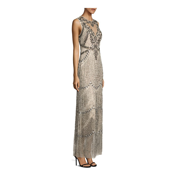AIDAN MATTOX sleeveless beaded fringe gown - Striking embellishments accentuate this fringe gown....
