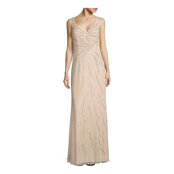 AIDAN MATTOX sleeveless beaded gown - Sparkling bead embellishments decorate this gown.V-neck....