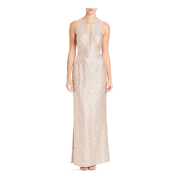 AIDAN MATTOX sleeveless sequin illusion gown - Sequin gown boasts sultry illusion neckline. Illusion...