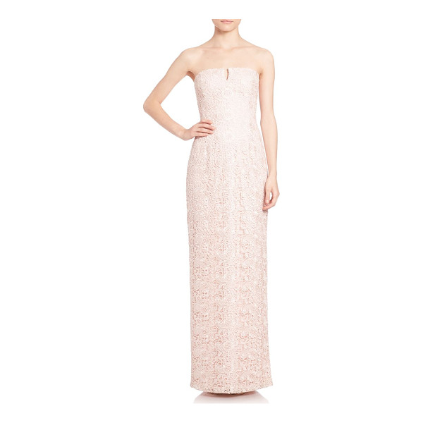 AIDAN MATTOX strapless lace bridesmaid gown - Streamlined column gown in floral lace. Notched strapless...