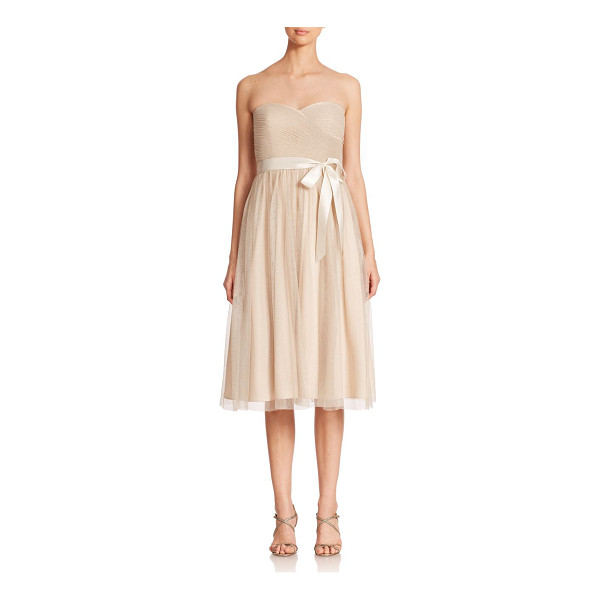 AIDAN MATTOX Strapless metallic mesh bridesmaid dress - Gently pleated, shimmering mesh lends a soft, romantic...