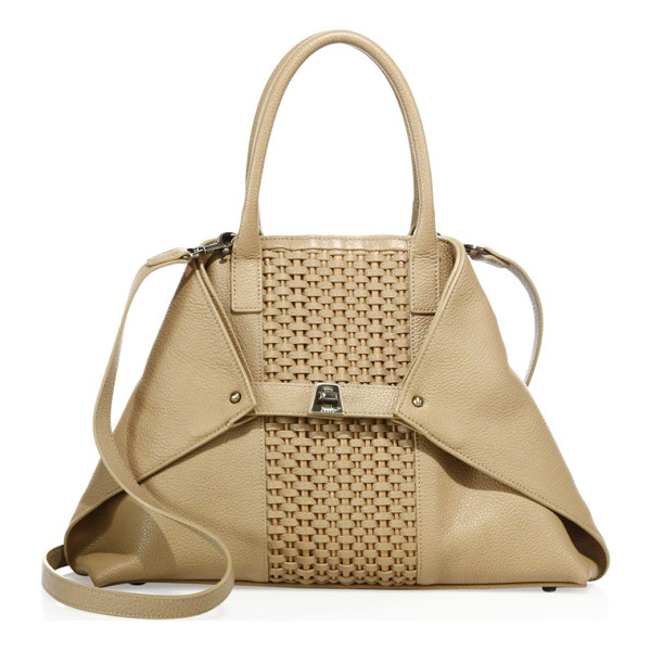 AKRIS ai medium convertible woven leather tote - Leather tote with woven panel and foldable corners. Double...