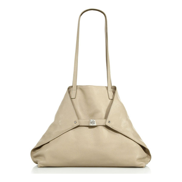 AKRIS Ai small convertible leather shoulder bag - Foldover trapezoid silhouette in sleek pebbled...