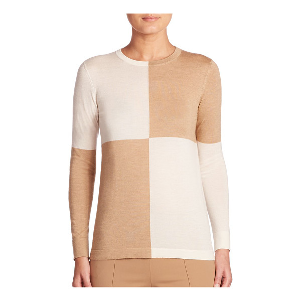AKRIS colorblock pullover - Contrast colorblock makes this knit the perfect modern edge...