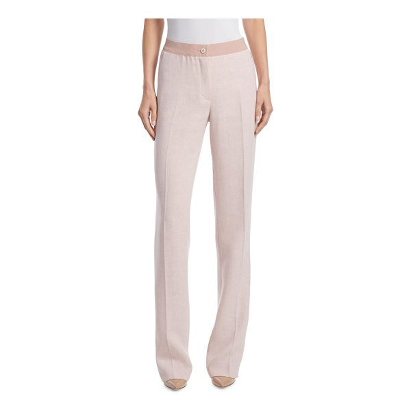 AKRIS linen & wool pants - Classic linen-blend pants in two-toned detail. Front...