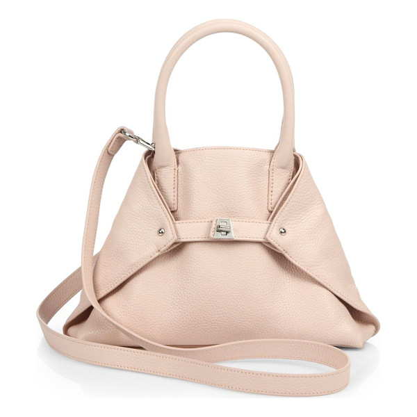 AKRIS Little ai convertible leather tote - Pebbled leather in a signature silhouette, cinched by a...